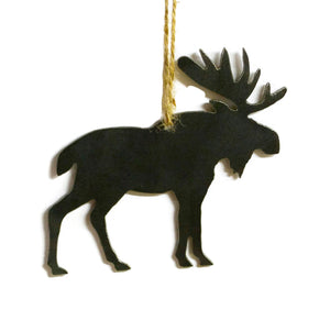 Moose Wildlife Metal Christmas Ornament Tree Stocking Stuffer Party Favor Holiday Decoration Raw Steel Gift Recycled Nature Home Decor