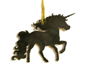 Unicorn Fantasy Metal Christmas Ornament Tree Stocking Stuffer Party Favor Holiday Decoration Raw Steel Gift Recycled Nature Home Decor