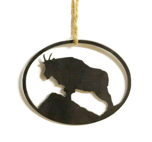 Mountain Goat Metal Christmas Tree Ornament Holiday Decoration Raw Steel Gift Recycled Nature Home Decor