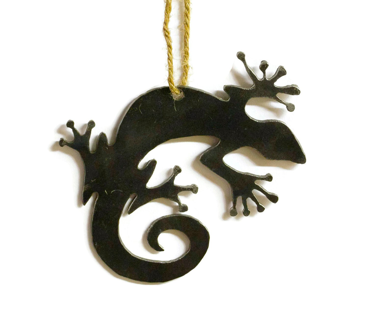 Lizard Metal Christmas Tree Ornament Holiday Decoration Raw Steel Gift Recycled Nature Home Decor