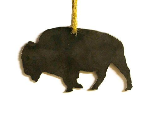Buffalo Bison Metal Christmas Tree Ornament Holiday Decoration Raw Steel Gift Recycled Nature Home Decor