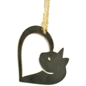 Cat Heart Metal Christmas Ornament Tree Stocking Stuffer Party Favor Holiday Decoration Raw Steel Gift Recycled Nature Home Decor
