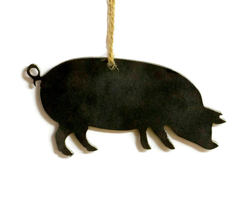 Pig Farmhouse Decor Metal Christmas Ornament Tree Stocking Stuffer Party Favor Holiday Decoration Raw Steel Gift Recycled Nature Home Decor