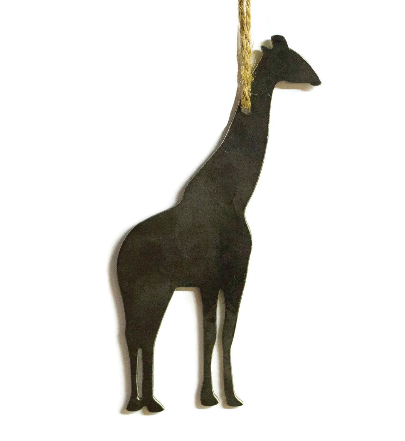 Giraffe Safari Metal Christmas Ornament Stocking Stuffer Holiday Decoration Raw Steel Gift Home Decor