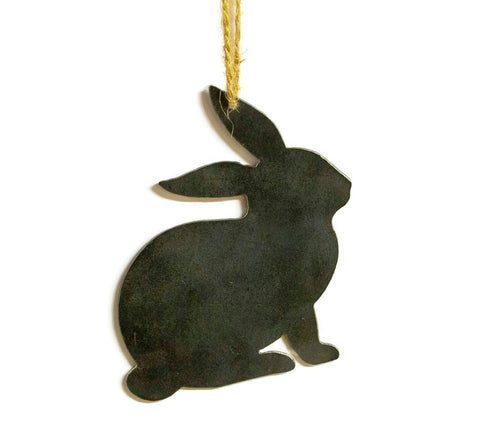 Bunny Rabbit Metal Christmas Ornament Tree Stocking Stuffer Party Favor Holiday Decoration Raw Steel Gift Recycled Nature Home Decor