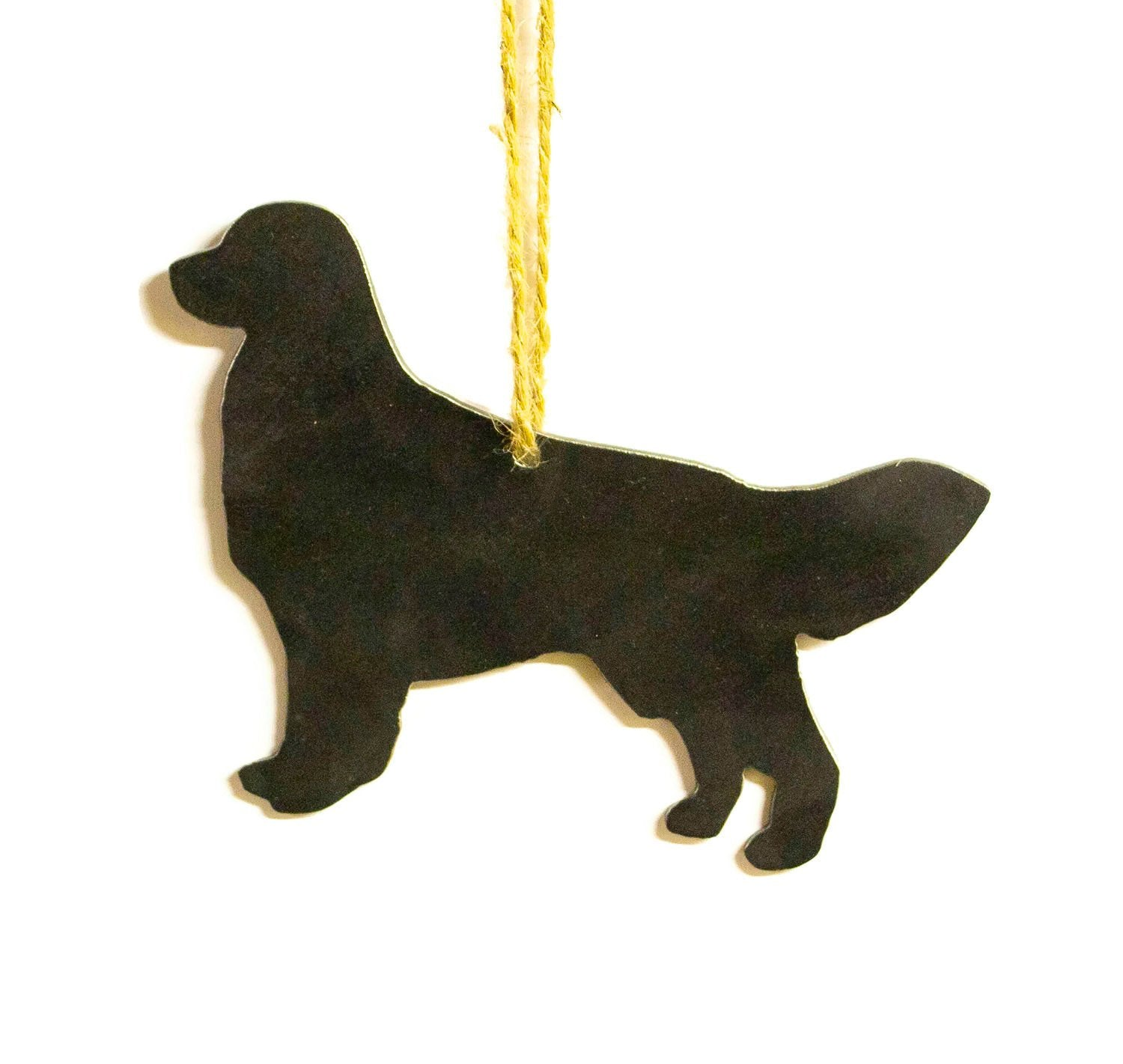 Golden Retriever Dog Metal Christmas Ornament Tree Stocking Stuffer Party Favor Holiday Decoration Raw Steel Gift Recycled Nature Home Decor