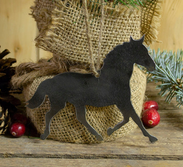 Horse Equestrian Metal Christmas Ornament Tree Stocking Stuffer Party Favor Holiday Decoration Raw Steel Gift Recycled Nature Home Decor