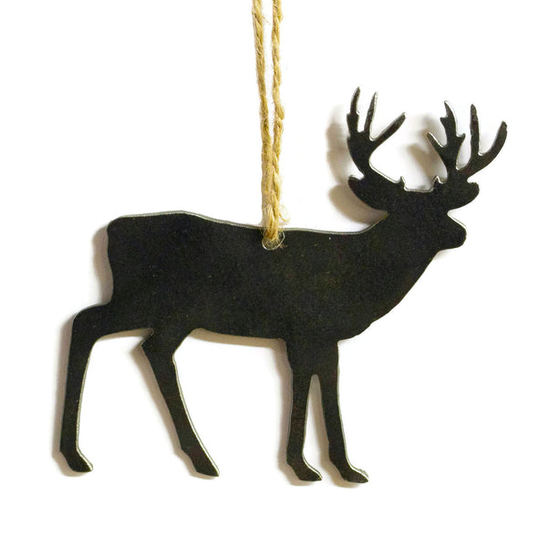 Deer Buck Metal Christmas Ornament Tree Stocking Stuffer Party Favor Holiday Decoration Raw Steel Gift Recycled Nature Home Decor