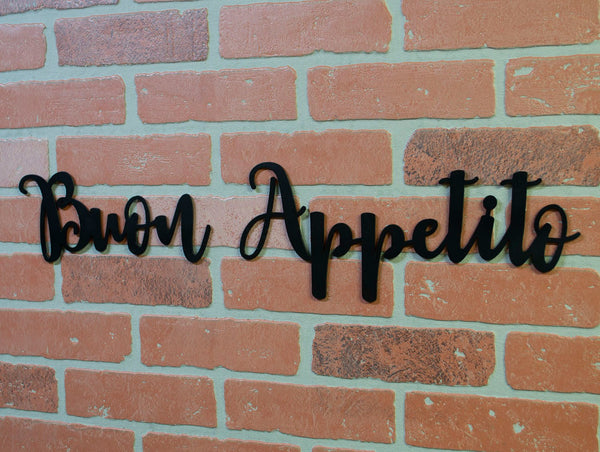 Buon Appetito Metal Kitchen Sign, Bon Appetit, Farmhouse Decor, Dining Room Decoration, Metal Wall Art, Ironwork