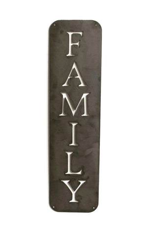Family Sign, Vertical Metal, Modern Farmhouse Sign, Raw, Kitchen Wall Art, Rustic Steel Decor, Housewarming Gift