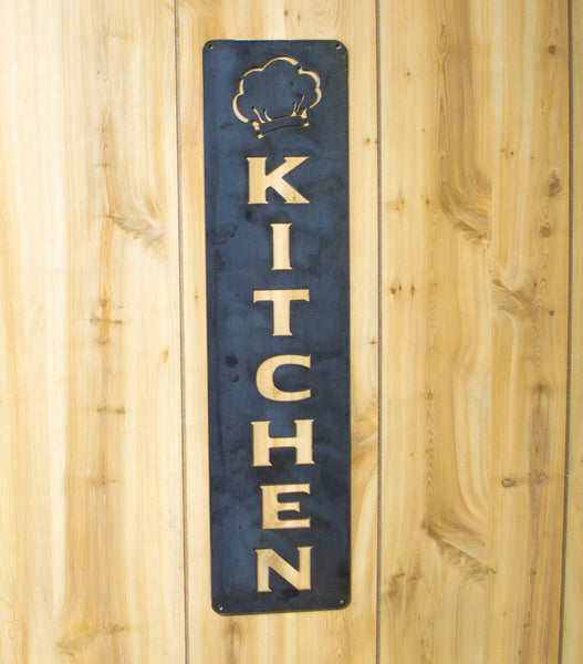 Kitchen Metal Vertical Sign, Chef Hat, Cooking, Kitchen, Dining Decor, Raw, Rustic Steel, Modern Farmhouse Decoration