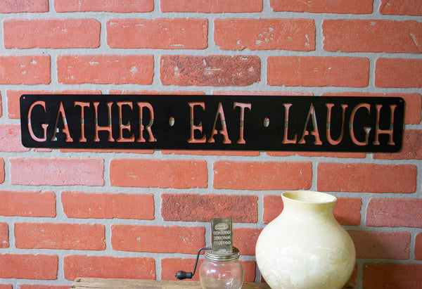 Gather Eat Laugh Kitchen Metal Sign, Farmhouse Decor, Dining Room Wall Words, Raw Steel, Rustic, Modern Decoration