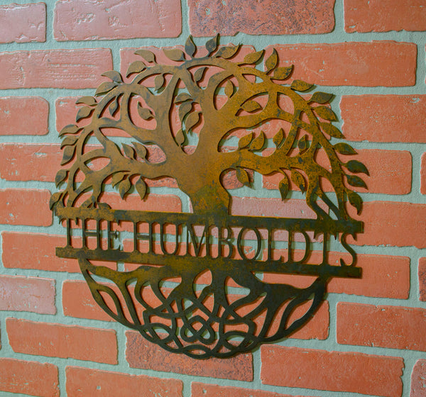 Tree of Life, Family Tree, Metal Personalized Last Name Family Sign, Rustic Metal Wall Decor, Custom Metal Sign