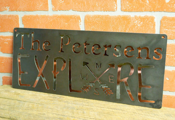 Personalized Explore Metal Sign, Custom Sign,  Adventure, Travel, Inspirational, Living Room Decor, Hiking, Camping Gift