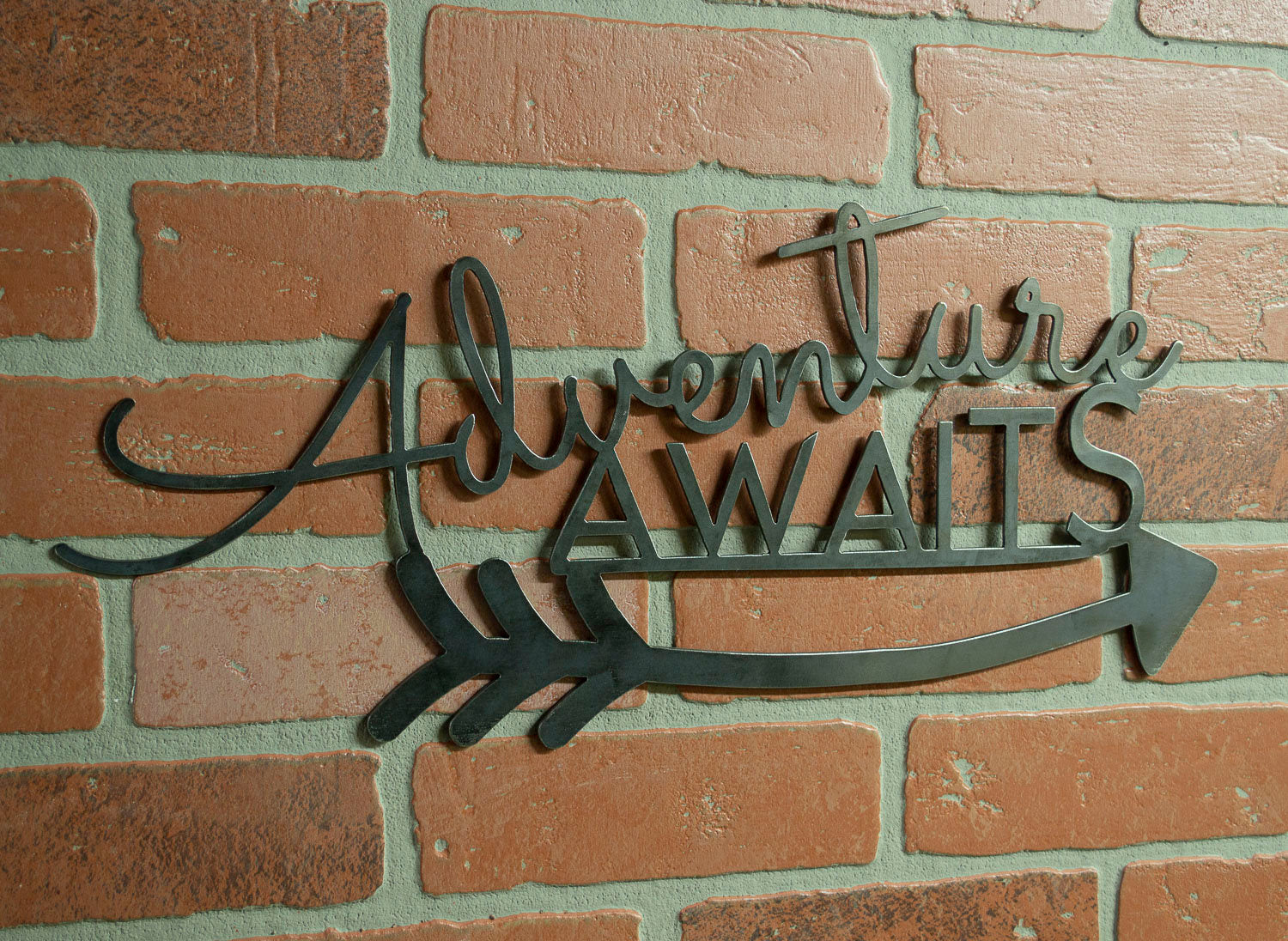 Adventure Awaits Metal Sign, Industrial Decor, Cabin Decoration, Iron Wall Art