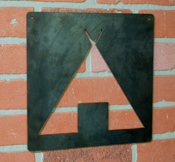 Campsite Symbol Metal Wall Hanging, Raw Industrial Steel, Hiking, Camping, Travel
