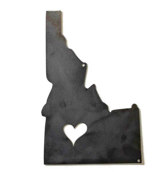 Idaho State Metal Wall Silhouette, Heart, Raw Steel, Rustic, States Wall Decor, Moving, Housewarming, Closing, Realtor Gift