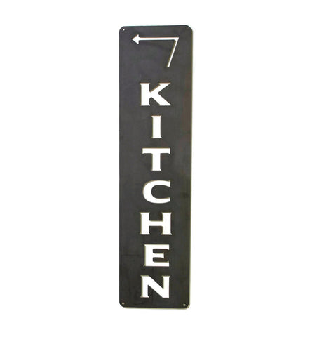 Kitchen Metal Vertical Sign with Arrow, Kitchen Dining Bar, Rustic Raw Steel Wall Decoration
