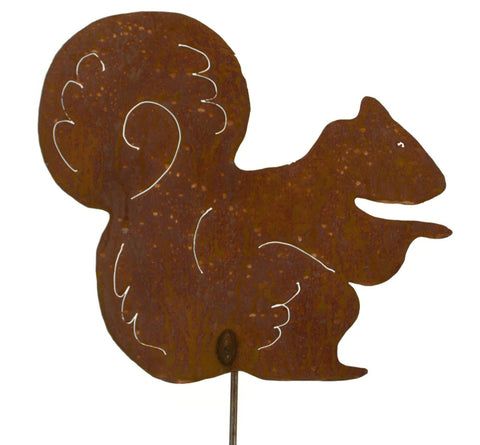 Sitting Squirrel Rust Metal Garden Decor Yard Art Stake Gift for Gardeners
