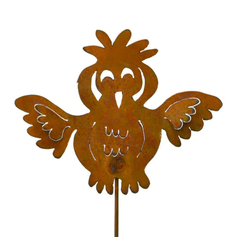 Goofy Owl Rust Metal Garden Decor Bird Yard Stake Gift for Gardeners