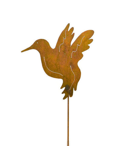 Hummingbird Rust Metal Garden Stake Decor Yard Art Bird Decoration Gift for Gardeners