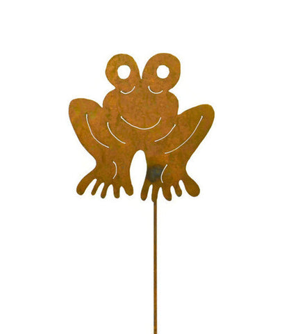 Frog Rust Metal Garden Decor Yard Art Stake Gift for Gardeners