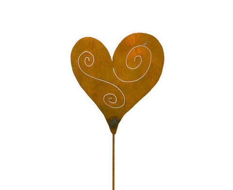 Heart Love Rust Metal Garden Decor Yard Art Stake Gift for Gardeners