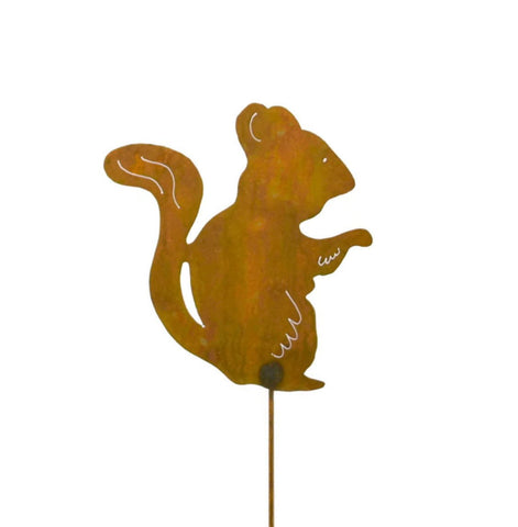 Chipmunk Rust Metal Garden Decor Yard Stake Gift for Gardeners