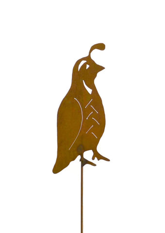 Quail Rust Metal Garden Decor Bird Yard Art Stake Gift for Gardeners