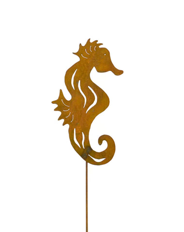 Seahorse Rust Metal Garden Decor Sea Life Yard Art Stake Gift for Gardeners