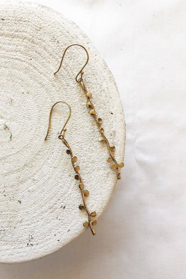 Delicate Branch Brass Earrings