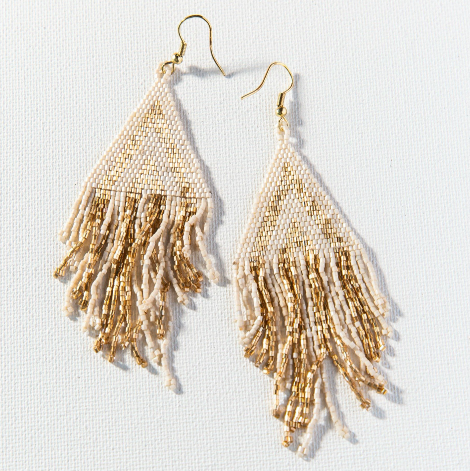 Gold/Ivory Fringe Earrings