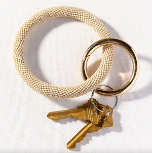 Ivory Seed Bead Key Ring