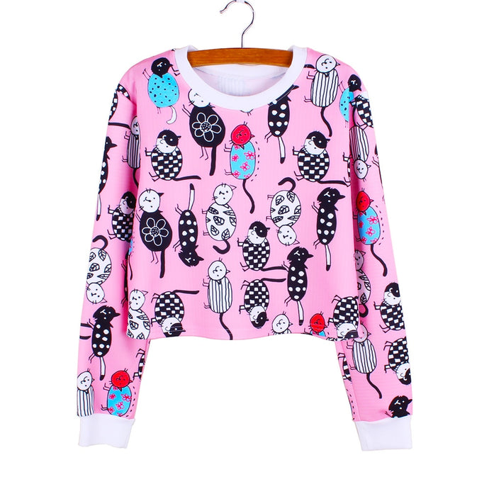 Assorted Cats Crop Pullover - Meou & Moi
