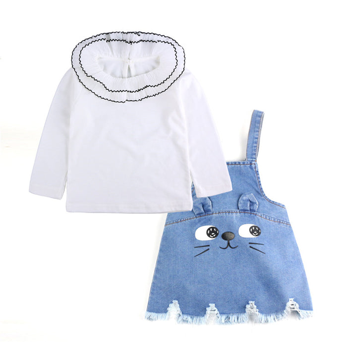 Kitten Face Denim Dress Set