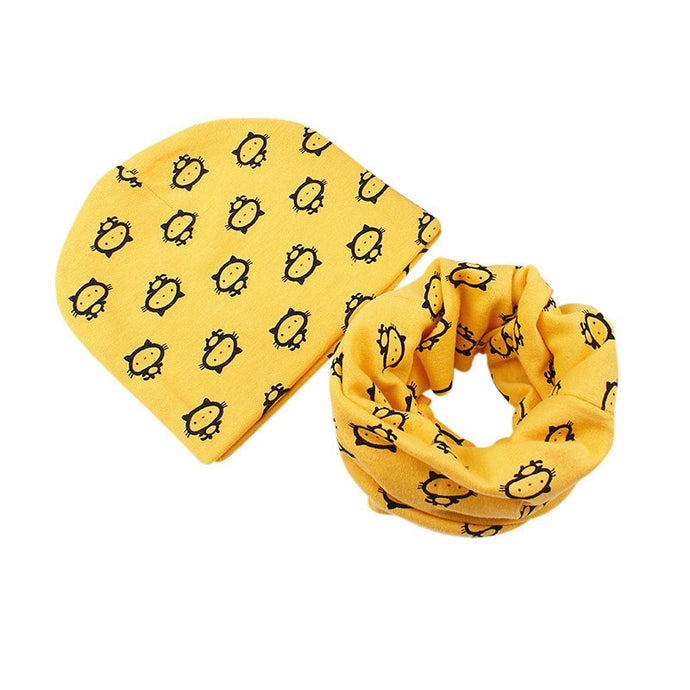Yellow Kitten Beanie/Scarf Set