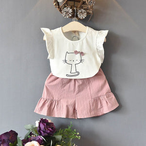 Lovely Bow Kitten Shorts Set
