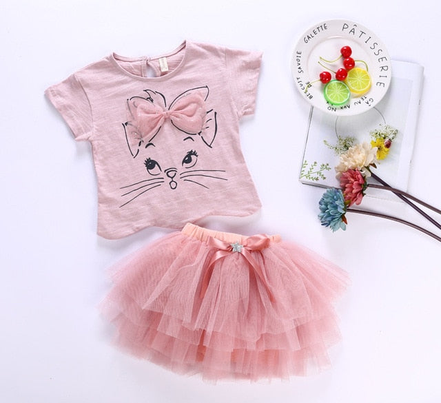 Pink Bow Kitten Tutu Set