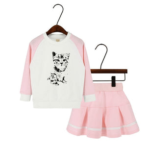 Cheerleader Kitten Skirt Set