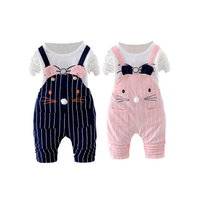 Kitten Whiskers Overalls Set