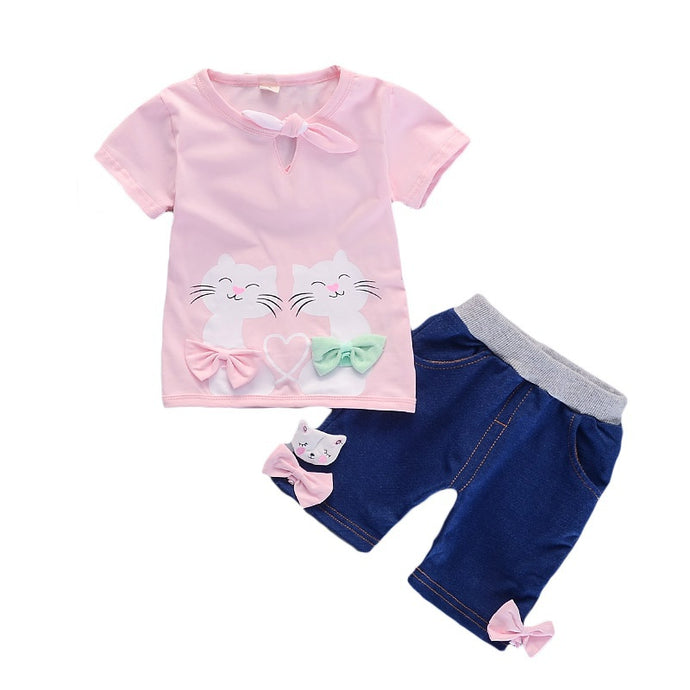 Bow Kitten Shorts Set - Meou & Moi
