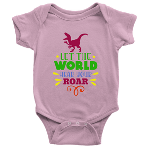 Baby | Let The World Hear Your Roar Onesie T-shirt teelaunch Pink NB