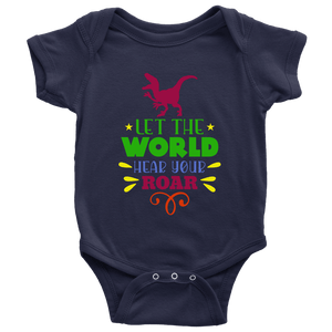 Baby | Let The World Hear Your Roar Onesie T-shirt teelaunch Navy NB