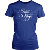 Blue and white Created to Worship ladies Christian tee.