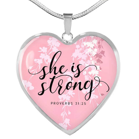 She is Strong Heart Necklace