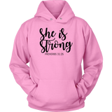 Pink She Is Strong Proverbs 31:25 Unisex Hoodie