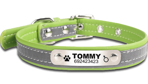 Reflective Custom ID Leather Pet Collar