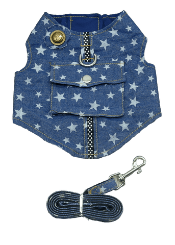 Denim Dog Harness and Leash Set - 2 Styles