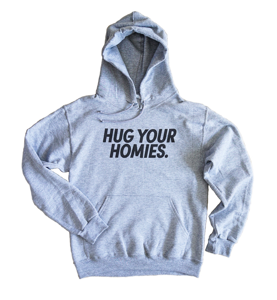 Load image into Gallery viewer, Hug Your Homies Heather Gray Hoodie