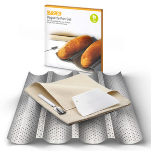 "Swopy Baguette Pan Nonstick Perforated 4 Wave Loaves Gutter 15"" X 13"" for French Bread Loaf, Baking Tray with Dough Cloth, Bread Lame, and Scraper."